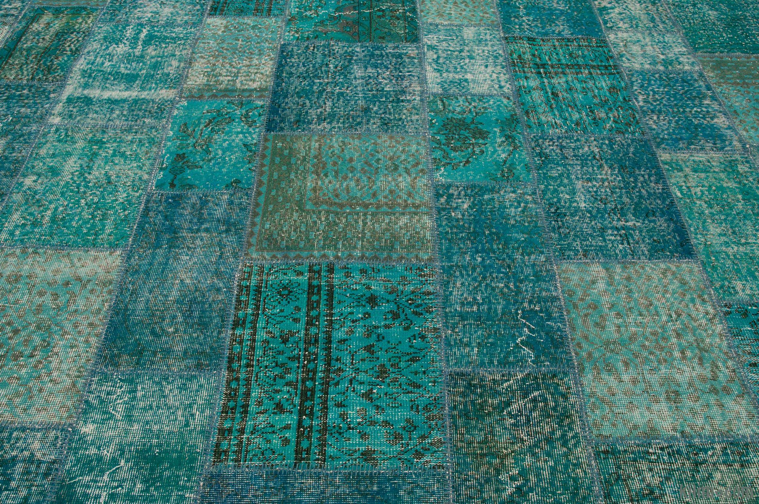 Green Blue Overdyed Patchwork Rug