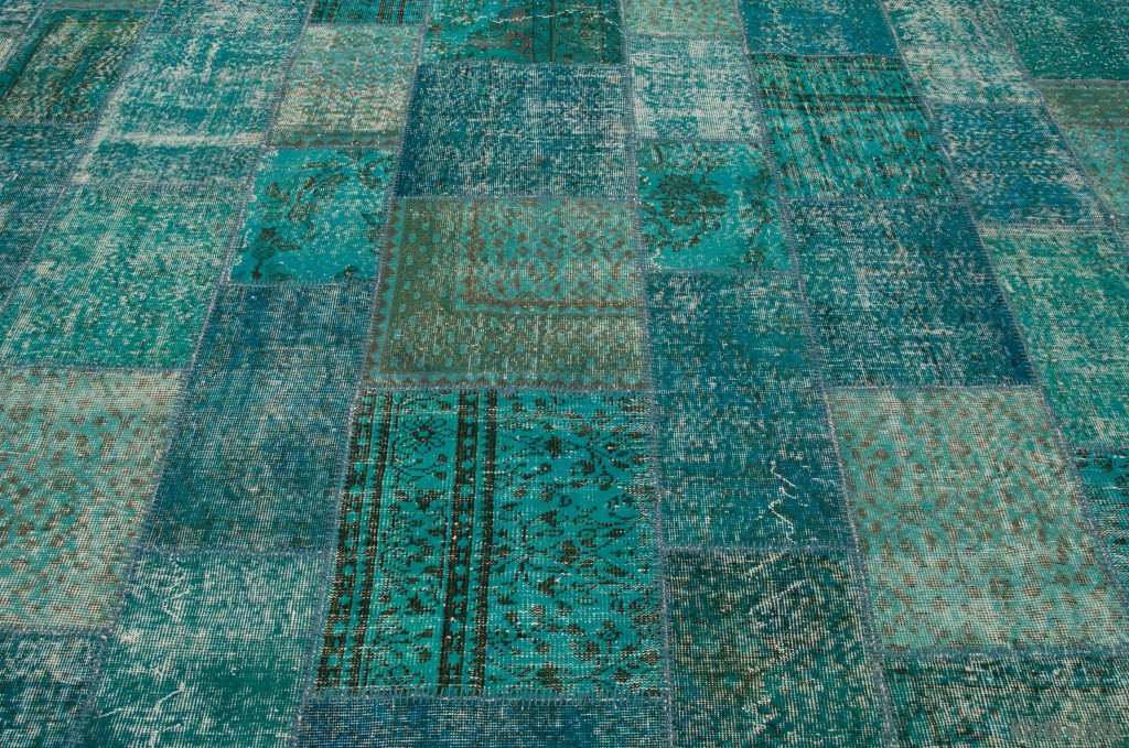 Ble Green Overdyed Turkish Patchwork Rug